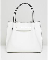 weiße Shopper Tasche aus Leder von New Look