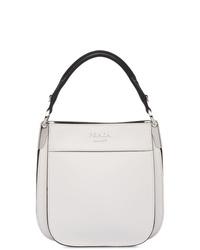 weiße Shopper Tasche aus Leder von Prada