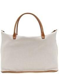 weiße Shopper Tasche aus Segeltuch
