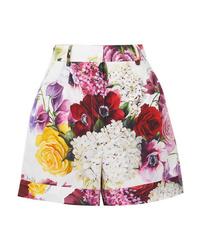 weiße Shorts mit Blumenmuster von Dolce & Gabbana