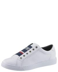 weiße Slip-On Sneakers aus Leder von Tommy Hilfiger