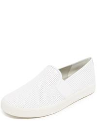 weiße Slip-On Sneakers aus Leder von Vince