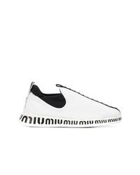 weiße Slip-On Sneakers von Miu Miu