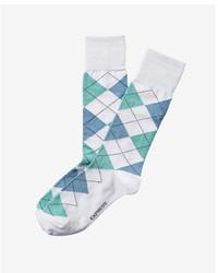 weiße Socken mit Argyle-Muster