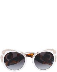 weiße Sonnenbrille von Prada