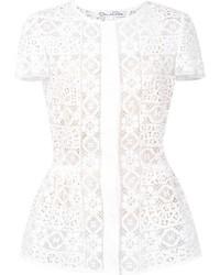 weiße Spitze Bluse mit Blumenmuster von Oscar de la Renta