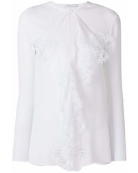 weiße Spitze Langarmbluse mit Rüschen von Givenchy