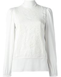weiße Spitze Langarmbluse von Dolce & Gabbana