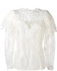weiße Spitze Langarmbluse von Lanvin