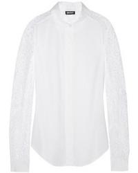 weiße Spitzebluse mit knöpfen von DKNY