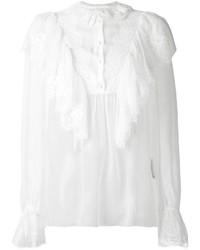 weiße Spitzebluse mit knöpfen von Dolce & Gabbana