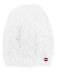 weiße Strick Mütze
