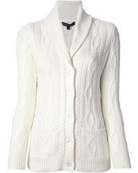 weiße Strickjacke mit einem Schalkragen von Ralph Lauren