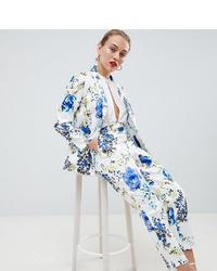 weiße und blaue bedruckte enge Hose von Asos Petite