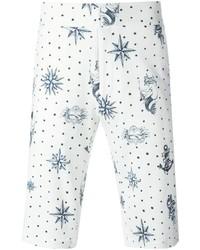 weiße und blaue bedruckte Shorts von Alexander McQueen