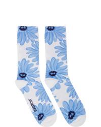 weiße und blaue bedruckte Socken von Jacquemus