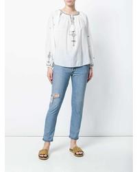 weiße und blaue bestickte Folklore Bluse von Isabel Marant Etoile