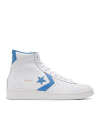 weiße und blaue hohe Sneakers aus Leder