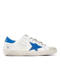 weiße und blaue Leder niedrige Sneakers