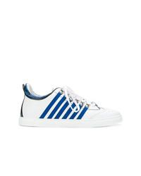 weiße und blaue niedrige Sneakers von DSQUARED2
