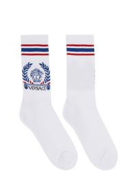weiße und blaue Socken von Versace