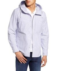 weiße und blaue vertikal gestreifte Shirtjacke