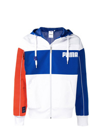 weiße und blaue Windjacke von Puma