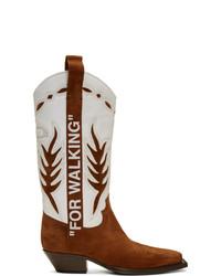 weiße und braune Cowboystiefel aus Leder