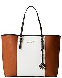 weiße und braune Shopper Tasche aus Leder
