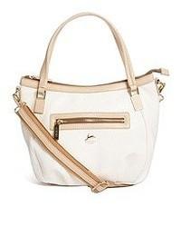 weiße und braune Shopper Tasche aus Leder von Aubrey