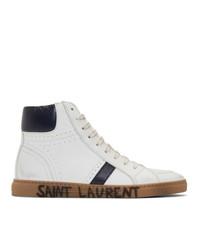 weiße und dunkelblaue hohe Sneakers aus Leder