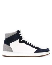 weiße und dunkelblaue hohe Sneakers aus Leder von Eleventy