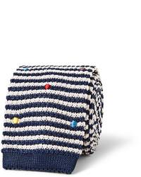weiße und dunkelblaue horizontal gestreifte Krawatte