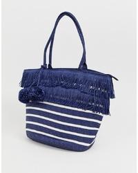 weiße und dunkelblaue horizontal gestreifte Shopper Tasche aus Segeltuch von Pia Rossini