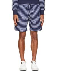 weiße und dunkelblaue horizontal gestreifte Shorts von Kenzo