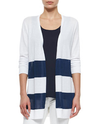 weiße und dunkelblaue horizontal gestreifte Strickjacke mit einer offenen Front