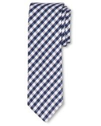 weiße und dunkelblaue Krawatte mit Vichy-Muster