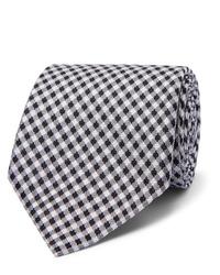 weiße und dunkelblaue Krawatte mit Vichy-Muster von Tom Ford