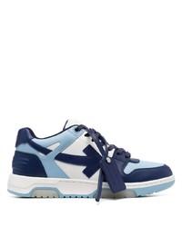 weiße und dunkelblaue Leder niedrige Sneakers von Off-White