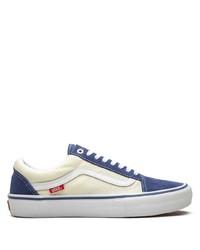 weiße und dunkelblaue Segeltuch niedrige Sneakers von Vans