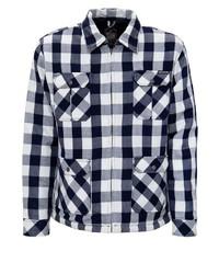 weiße und dunkelblaue Shirtjacke mit Vichy-Muster von KINGKEROSIN