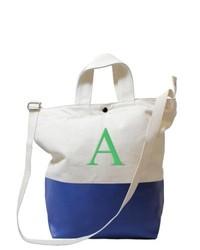 weiße und dunkelblaue Shopper Tasche aus Segeltuch