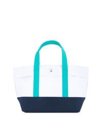 weiße und dunkelblaue Shopper Tasche aus Segeltuch von Cabas
