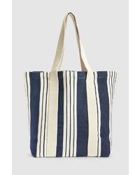 weiße und dunkelblaue Shopper Tasche aus Segeltuch von NEXT