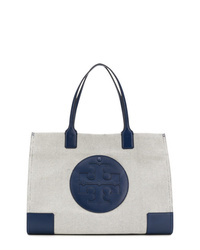 weiße und dunkelblaue Shopper Tasche aus Segeltuch von Tory Burch