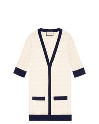 weiße und dunkelblaue Strickjacke von Gucci