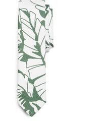 weiße und grüne bedruckte Krawatte