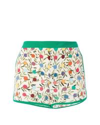 weiße und grüne bedruckte Shorts von RED Valentino