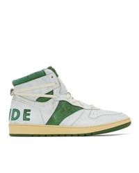 weiße und grüne hohe Sneakers aus Leder