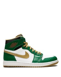 weiße und grüne hohe Sneakers aus Leder von Jordan